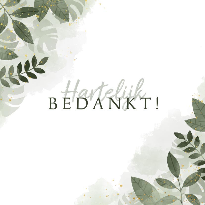 Trouwkaarten - Bedankkaart met botanische print, waterverf en spetters