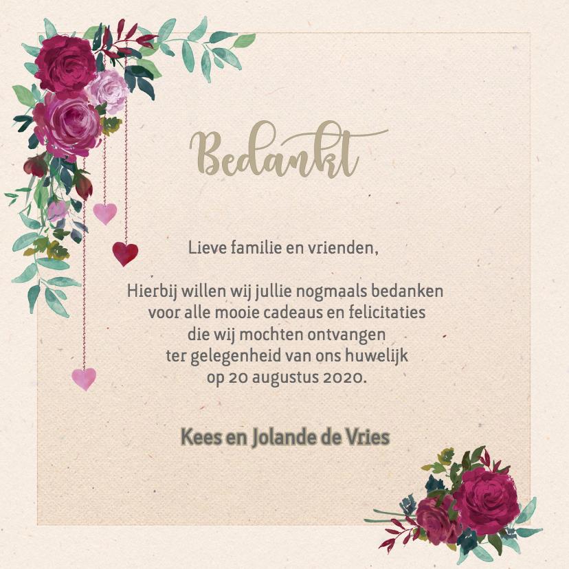 Trouwkaarten - Bedankkaart met rozen