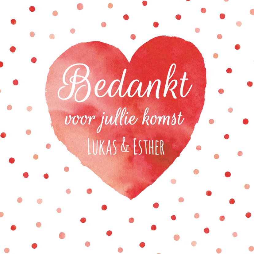 Trouwkaarten - Bedankkaart rood hart confetti