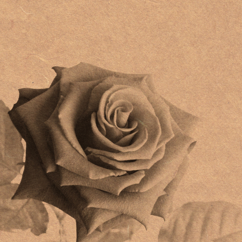 Trouwkaarten - Bedankkaart roos op karton