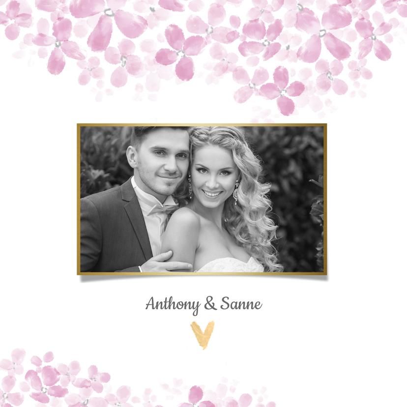 Trouwkaarten - Bedankkaart roze Hortensia