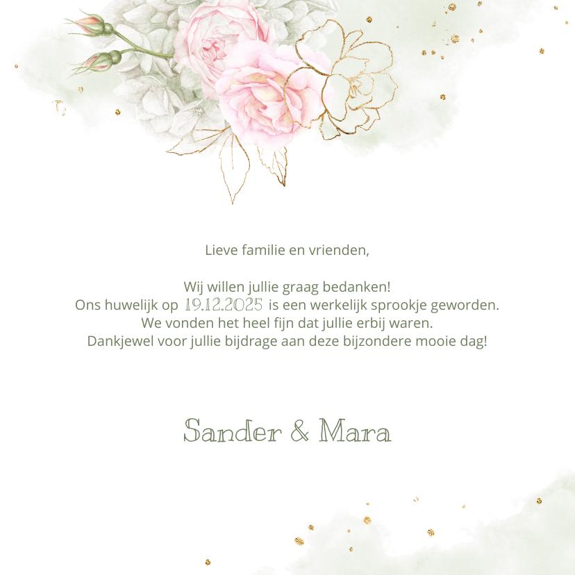 Trouwkaarten - Bedankkaart roze rozen met goud