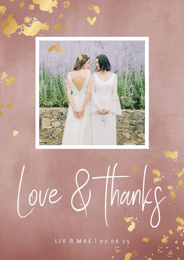 Trouwkaarten - Bedankkaart roze waterverf gouden spetters