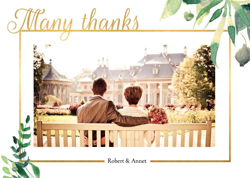 Trouwkaarten - Bedankkaart Stijlvol wit met goud