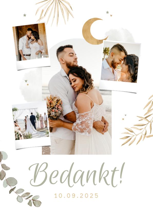 Trouwkaarten - Bedankkaart trouwen Arabisch goud zon eucalyptus foto's