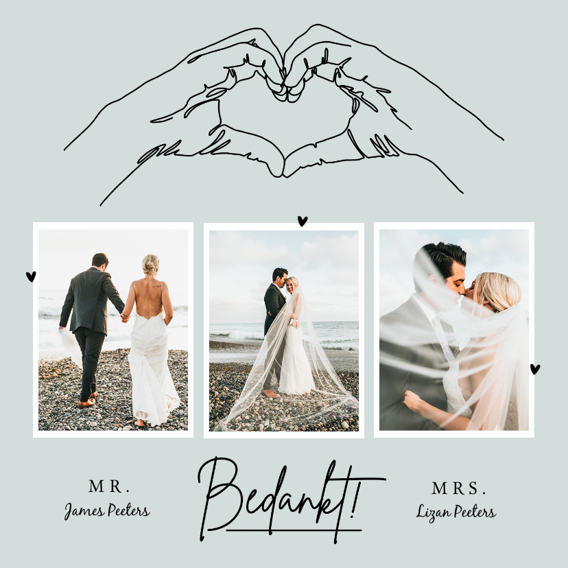 Trouwkaarten - Bedankkaart trouwen bruiloft pastel stijlvol lijntekening