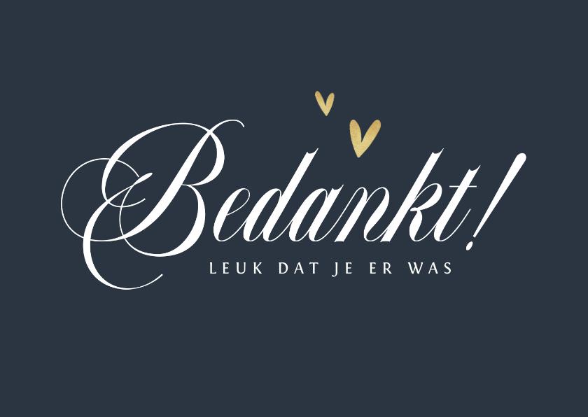 Trouwkaarten - Bedankkaart trouwen bruiloft stijlvol chique goud hartjes