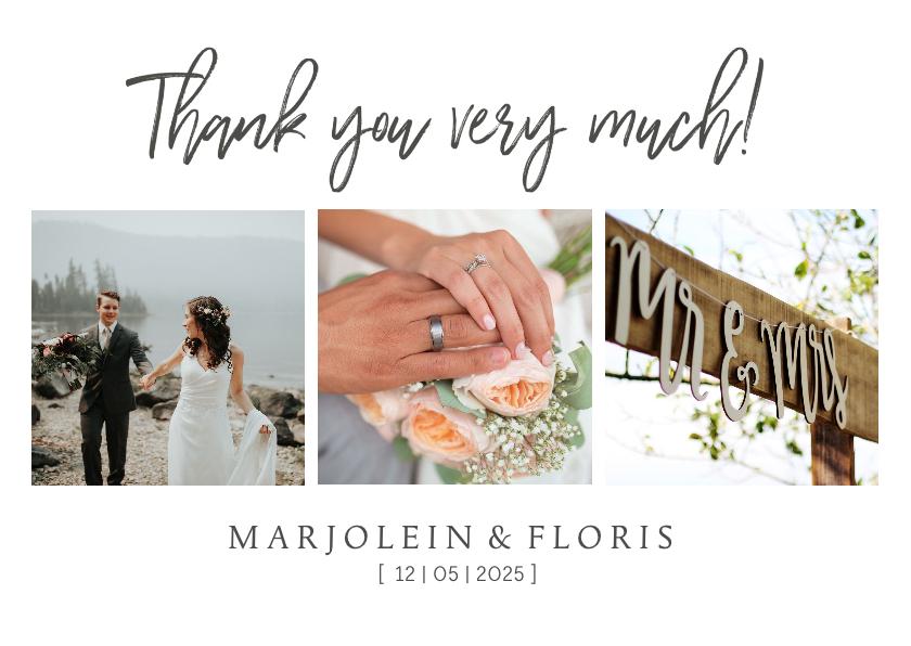 Trouwkaarten - Bedankkaart trouwen chique met foto's