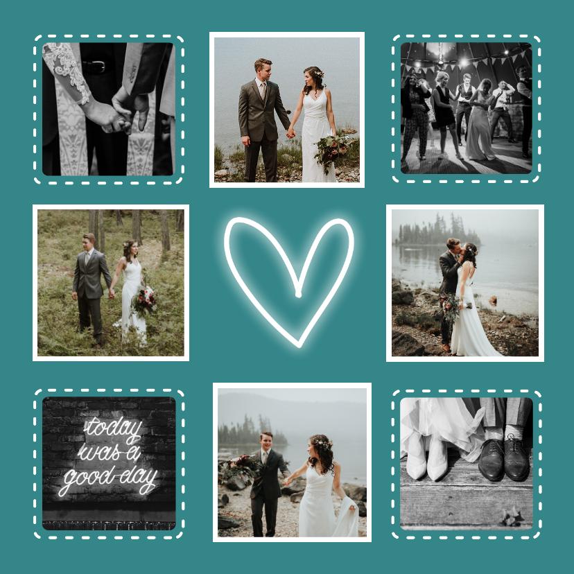Trouwkaarten - Bedankkaart trouwen hip met fotocollage en neon hartje