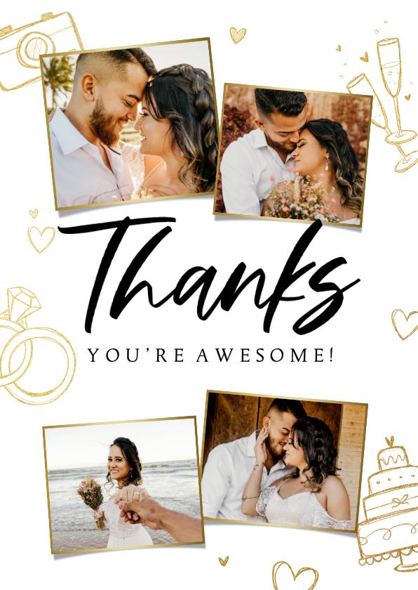 Trouwkaarten - Bedankkaart trouwen hip trendy goud doodle foto's
