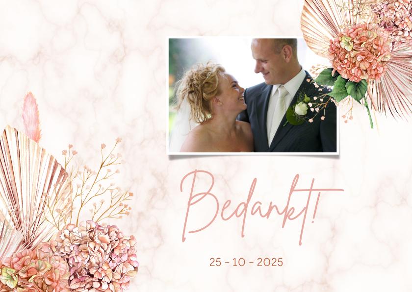 Trouwkaarten - Bedankkaart trouwen hortensiabloemen