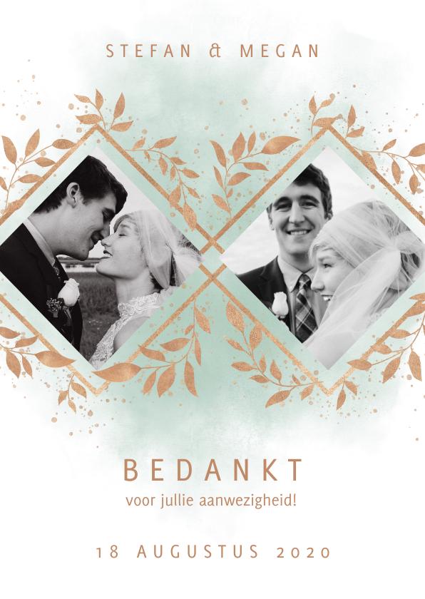 Trouwkaarten - Bedankkaart trouwfeest met foto's, waterverf en takjes