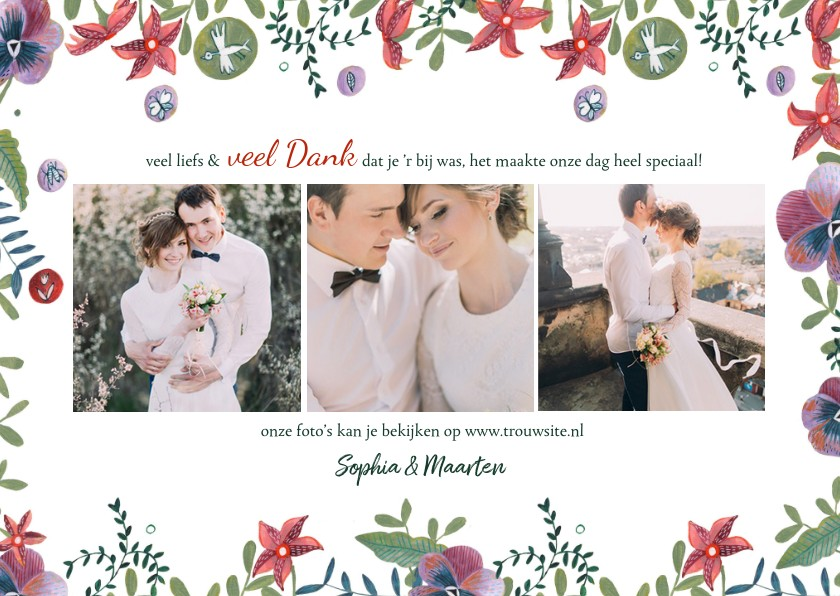 Trouwkaarten - Bedankkaartje botanische bruiloft