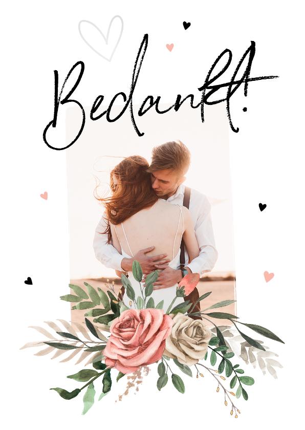 Trouwkaarten - Bedankkaartje bruiloft Bohemian met bloemen
