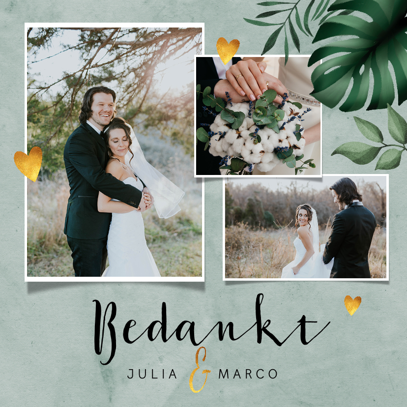 Trouwkaarten - Bedankkaartje bruiloft stijlvol botanisch met fotocollage