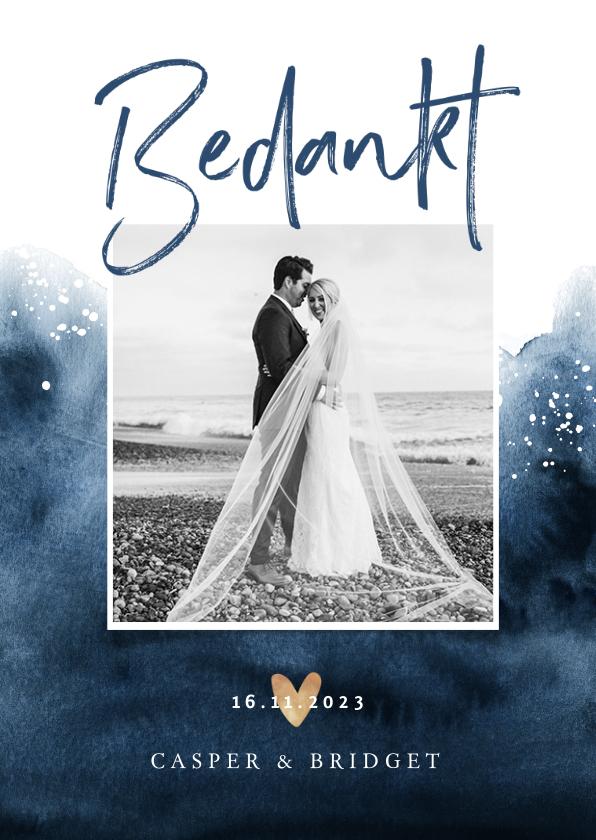 Trouwkaarten - Bedankkaartje bruiloft verf inkt blauw met goudaccent hartje