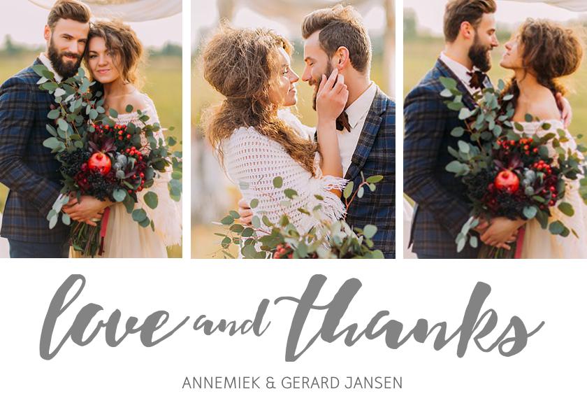 Trouwkaarten - Bedankkaartje huwelijk 3 foto's