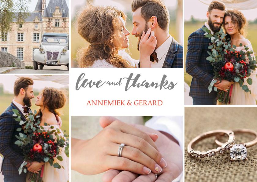 Trouwkaarten - Bedankkaartje huwelijk 6 foto's