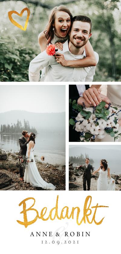 Trouwkaarten - Bedankkaartje huwelijk fotocollage stijlvol goud