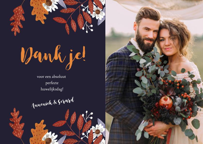Trouwkaarten - Bedankkaartje huwelijk herfstbladeren