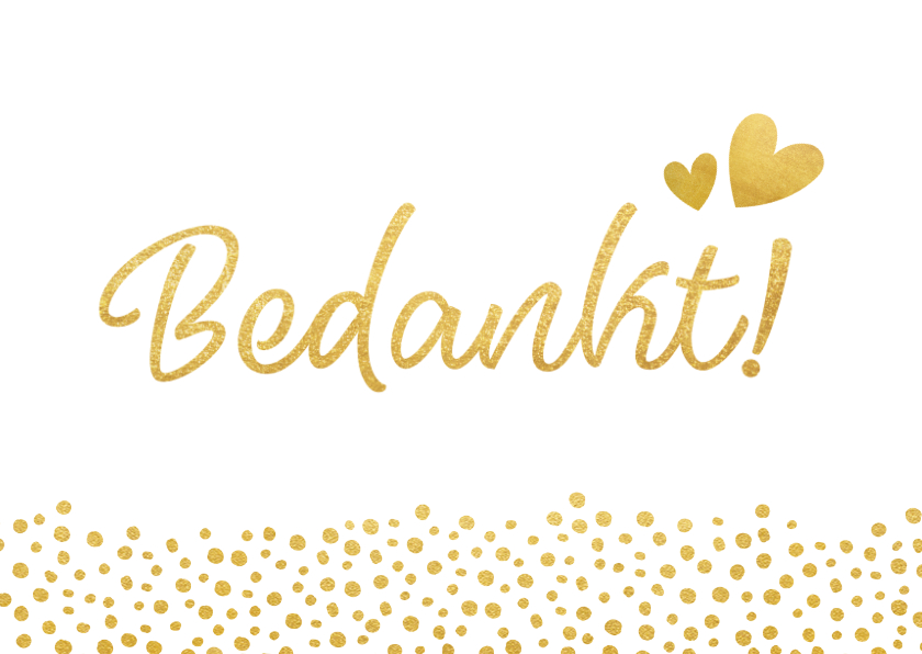 Trouwkaarten - Bedankkaartje huwelijk wit met gouden stippen