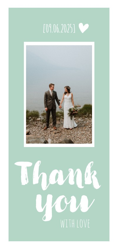 Trouwkaarten - Bedankkaartje langwerpig trouwen