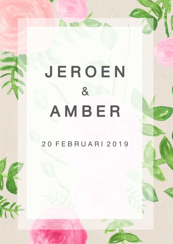 Trouwkaarten - Bloem uitnodiging  bruiloft - SU