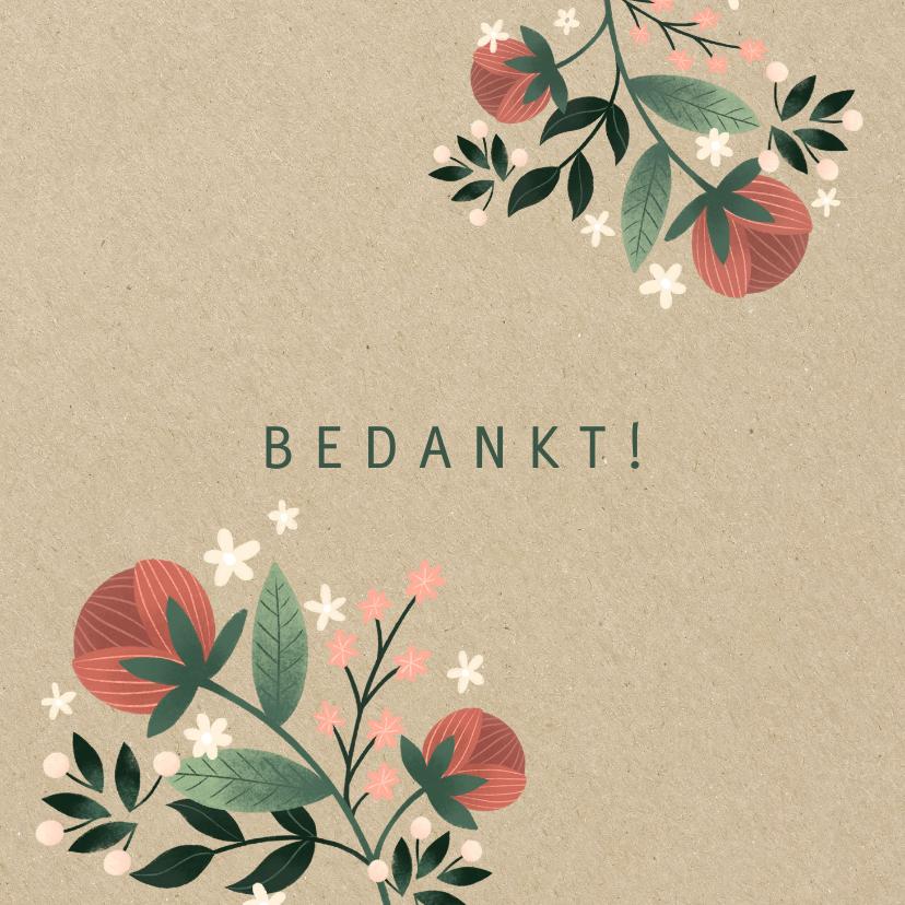 Trouwkaarten - Botanisch bedankkaartje met bloemen, planten en kraftlook