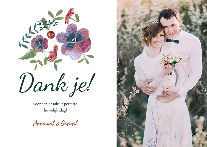 Trouwkaarten - Botanische bruiloft bedankkaartje