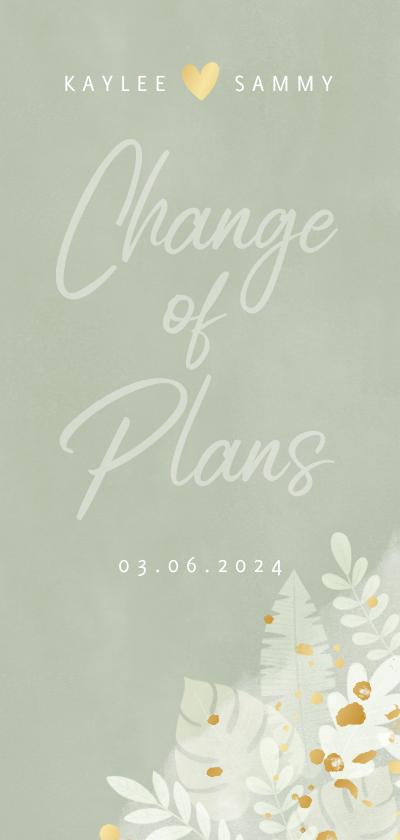 Trouwkaarten - Botanische change of plans kaart junglebladeren en waterverf