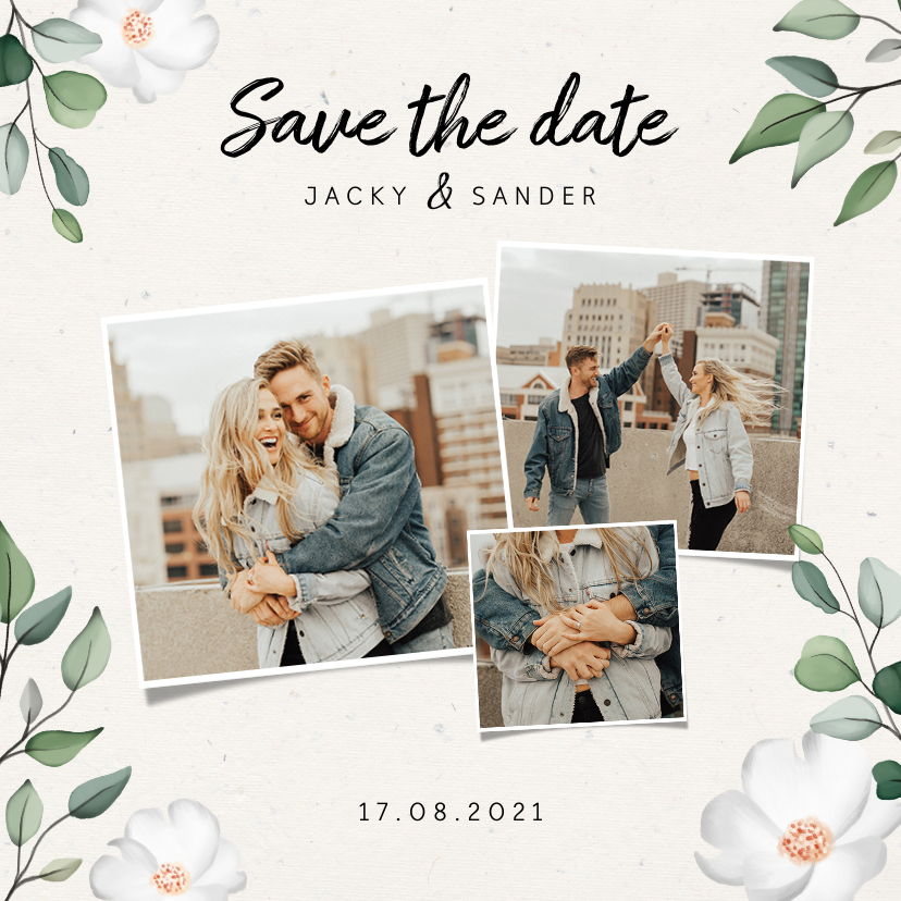 Trouwkaarten - Botanische Save the date kaart met fotocollage