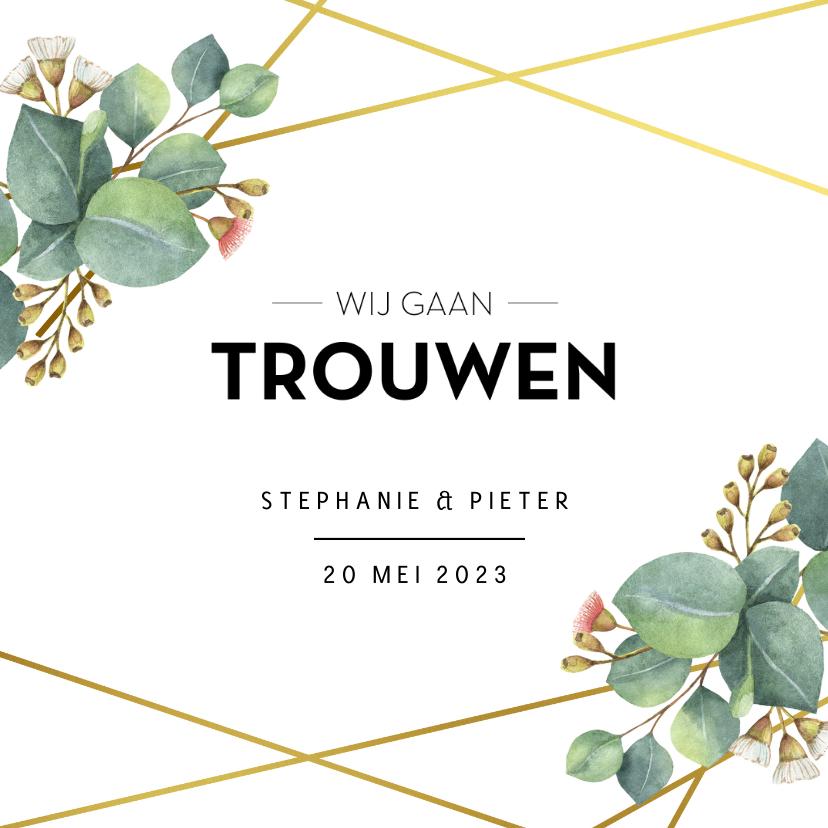 Trouwkaarten - Botanische trouwuitnodiging