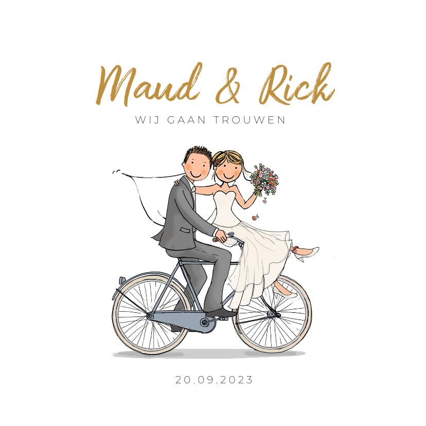 Trouwkaarten - Bruidspaar op fiets