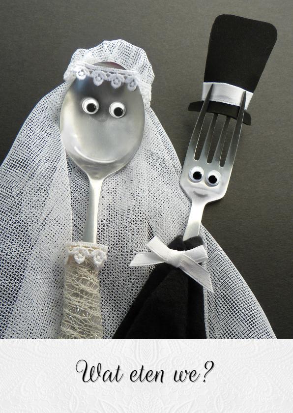 Trouwkaarten - Bruiloft Menukaart - bruidspaar