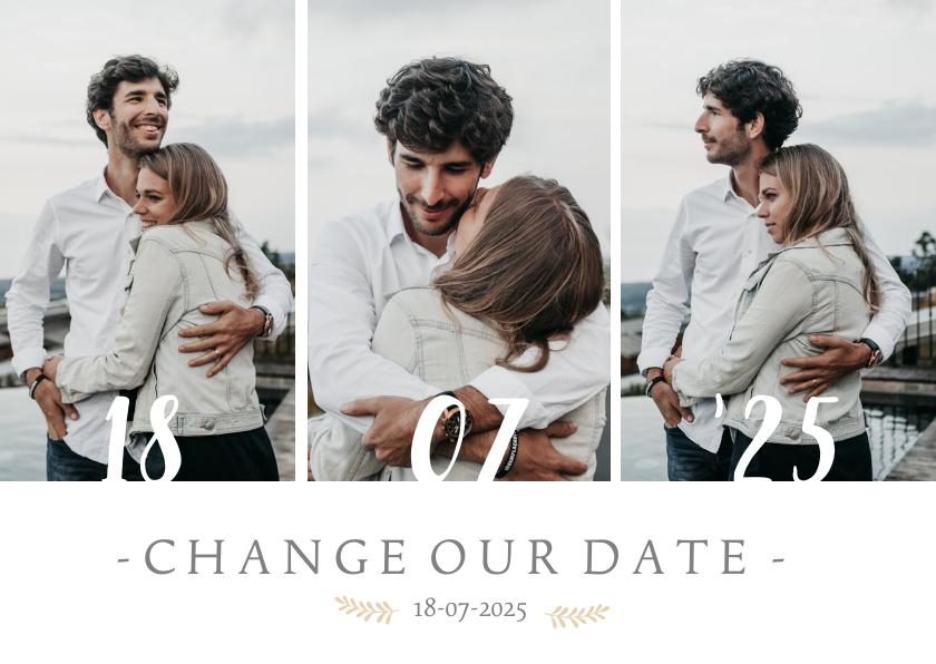 Trouwkaarten - Change our date - annuleringskaart trouwdatum wijziging