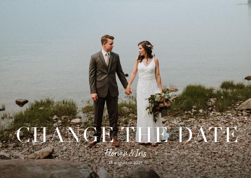 Trouwkaarten - Change the date annuleringskaart grote foto en tekst
