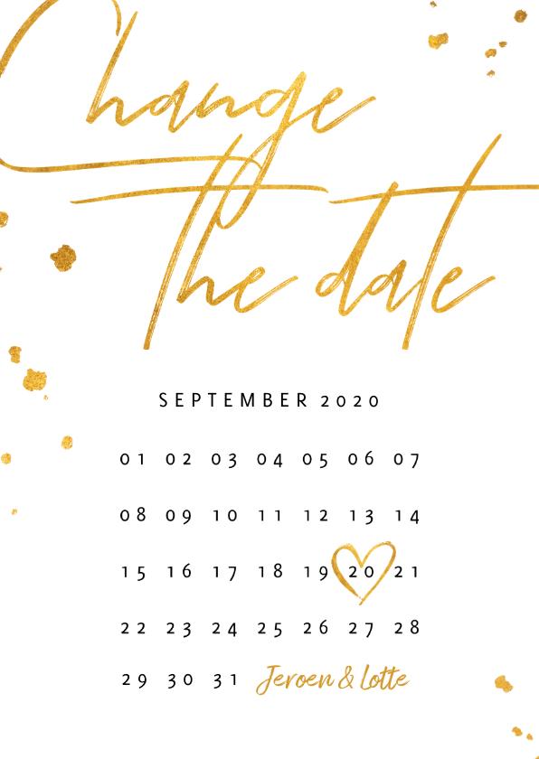Trouwkaarten - Change the date kalender goud stijlvol