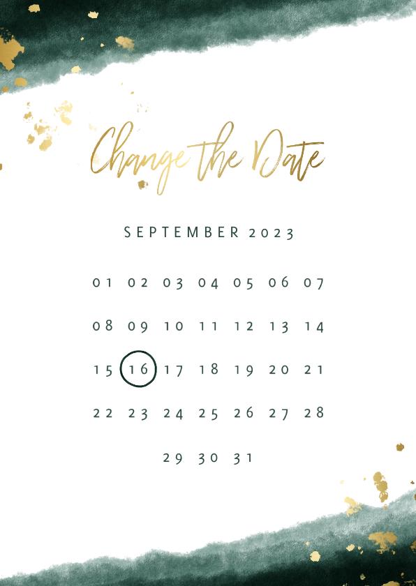 Trouwkaarten - Change the date kalender waterverf gouden tekst
