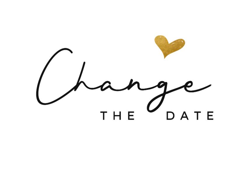 Trouwkaarten - Change the datekaart met goud hartje