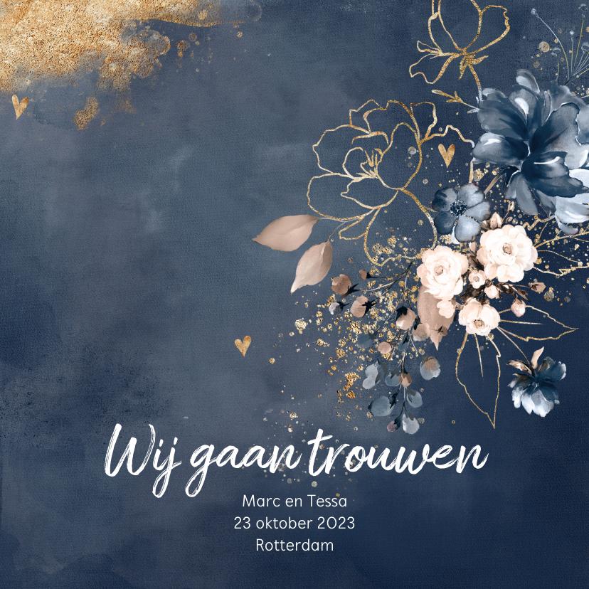 Trouwkaarten - Chique trouwkaart donkerblauw bloemen