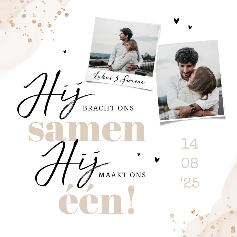 Trouwkaarten - Christelijke trouwkaart stijlvol waterverf goud foto