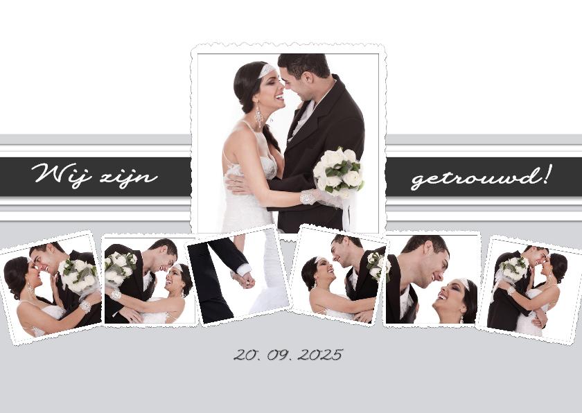 Trouwkaarten - Collage wij zijn getrouwd! - BK