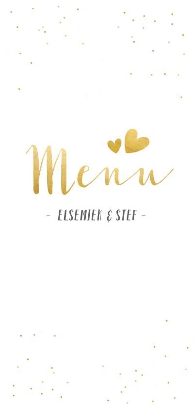 Trouwkaarten - Feestelijke langwerpige menukaart voor een huwelijk met goud