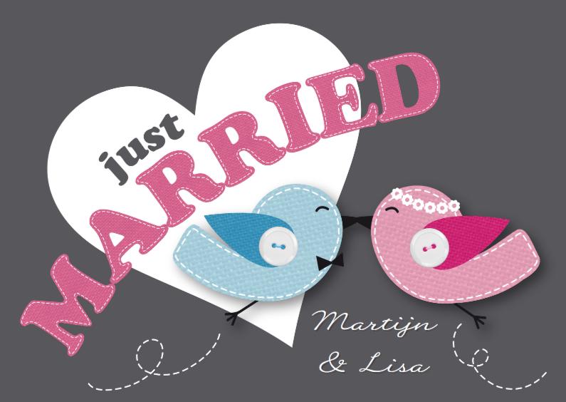 Trouwkaarten - Felicitatiekaart pas getrouwd vogeltjes lief