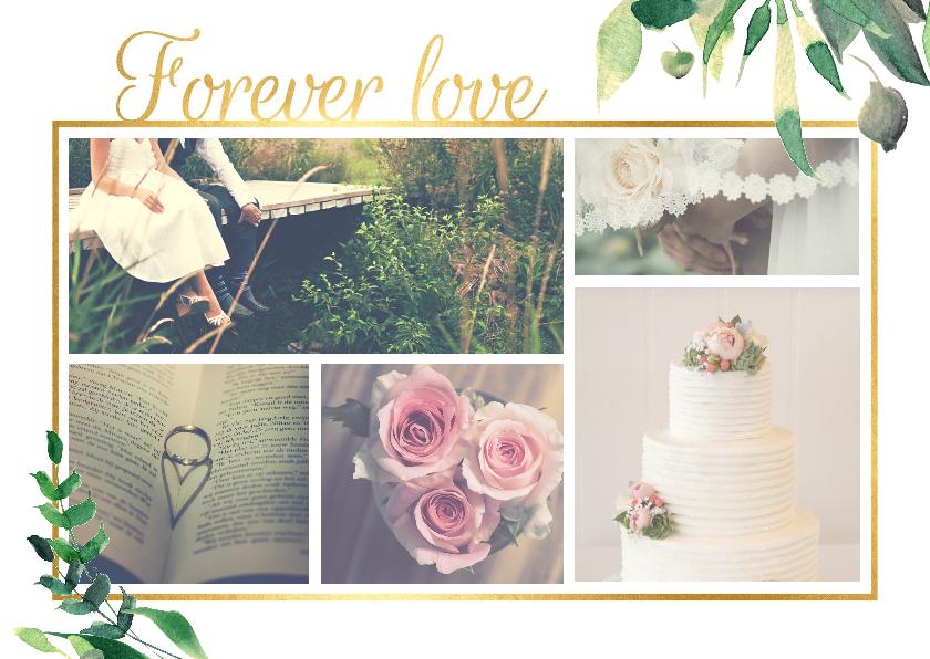 Trouwkaarten - Forever Love Stijlvol wit met goud