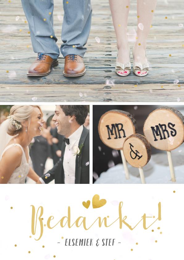 Trouwkaarten - Fotocollage bedankkaartje trouwen met 3 foto's en confetti
