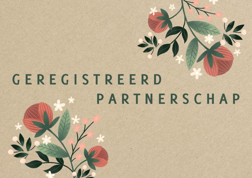 Trouwkaarten - Geregistreerd partnerschap met kraft en bloemen