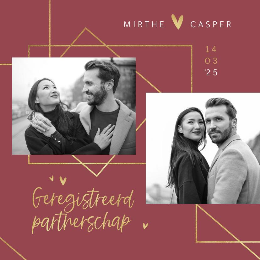 Trouwkaarten - Geregistreerd partnerschap stijlvol goud hartjes foto's