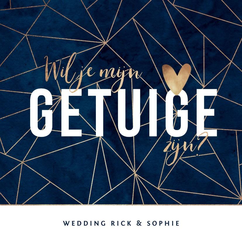 Trouwkaarten - Getuige trouwkaart geometrisch goudlook stijlvol