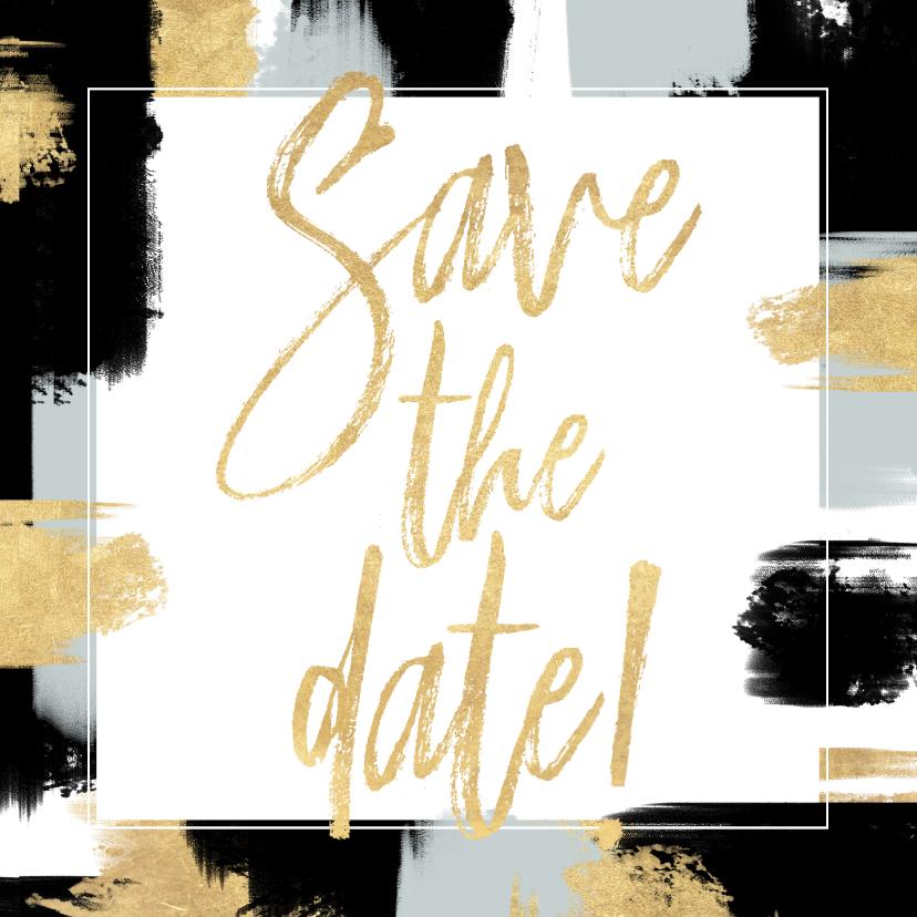 Trouwkaarten - Hippe Save the Date kaart verf strepen en gouden typografie